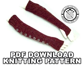 Fingerless Gloves Knitting PATTERN, Foraoise, PDF DOWNLOAD
