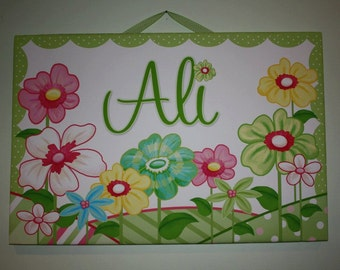 Personalized Green Flower Stretched Canvases Girls Bedroom CANVAS Bedroom Wall Art CS0052