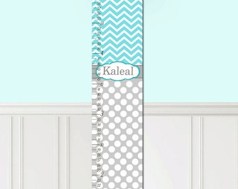 Canvas GROWTH CHART Grey and Teal Turquoise Chevron and Dots Girls Bedroom Baby Nursery Wall Art Personalized Canvas Growth Chart GC0224
