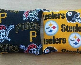 Steelers & Pirates Pittsburgh Cornhole FREE SHIPPING - Set of 8 Cornhole Bags or Baggo Bean Bag Toss