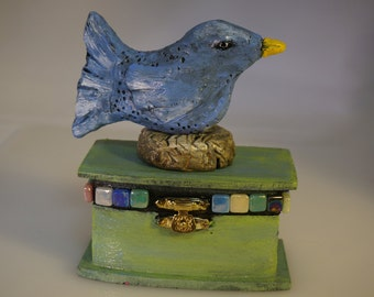 FREE SHIPPING, Bird Box Inspirational Affirmation,One of a Kind, Glass, Clay, Wood, Gift
