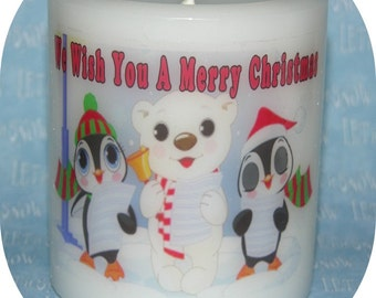 CHRiSTMAS Candle * Singing Polar Bear & Penguins * Apple Spice Scent * Cute Unique OOAK Home Decor * Paraffin Pillar Candle * Handmade USA