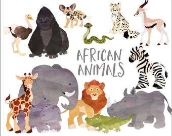 Instant Download - Watercolor African Animals - digital clipart- printable artwork - commercial use