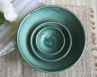 Stoneware Nesting Bowls, Ceramic Set of Three Green Bowls Handmade Pottery Ready to Ship Made in USA