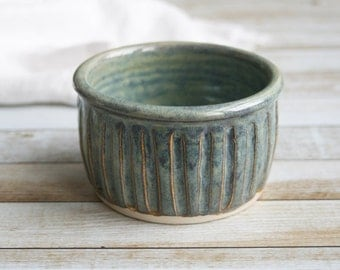 Sage Green Ramekin Hand Carved Edges Rustic Stoneware Bowl Single Serving Soufflé Dish Ready to Ship Made in USA