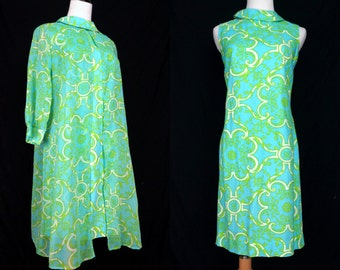 1960s Turquoise Psychedelic Shift Dress Mod Mid Century Two Piece Sleeveless Chiffon Small