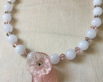 Repurposed Vintage Glass Flower Beads White Soft Pink Grey Crystal Glass Bead Necklace