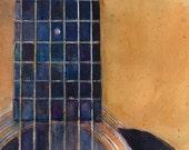 2016 - Martin Guitar D-28 - Original Watercolor or Art Print - Guitar Players - Rock Stars - Music