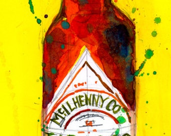 Tabasco Hot Sauce, Louisiana Hot Sauce Print from Original Watercolor  Giclee or Archival Kitchen