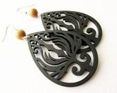 Black Lazer Cut Wooden Phoenix Earrings with Nangka Wood Beads