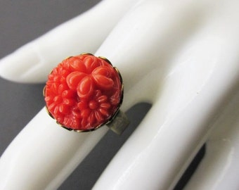 Small Coral Red Flower Cluster Ring. Adjustable band