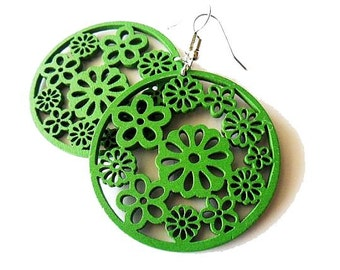 Green Circle Floral Wooden Earrings