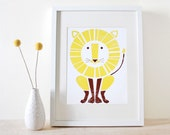 Lion Screenprint, Nursery Art, Modern