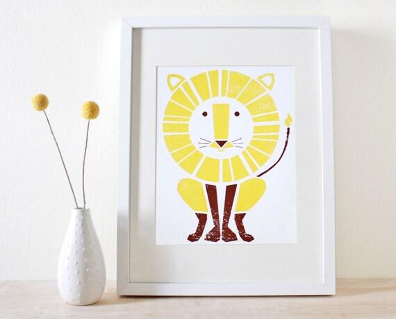 Lion Screenprint, Nursery Art, Modern