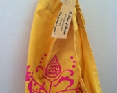 Hand Printed Cotton Apron/Germanic Motif/Raspberry and Mustard/FREE SHIPPING