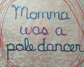 Family History, Framed, Original art, Modern tapestry, Hand embroidery, Mother's Day, Pole Dancer
