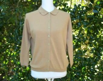 SALE 50s 60s  Cashmere Sweater Size Medium Large Ballantyne Cardigan