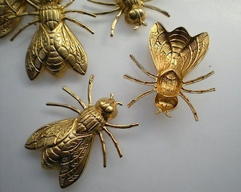 6 large brass flying insect charms