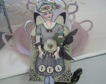 Paper Doll Ornament - Tea-themed Ornament - Character Constructions Stamped Doll