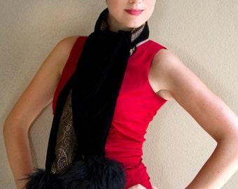 Black Tie Velvet and Fur Long Scarf Reversible
