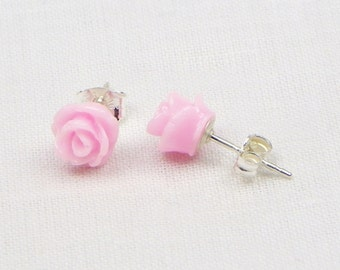 Pink Resin Rose Earrings - Sterling Silver - 7MM - Stud Earrings - Flower Earrings - Resin Earrings - Gift