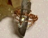Terminated quartz ring,healing stones,copper jewelry, soulstar crystal,quartz rings,titanium quartz