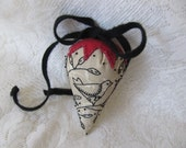 ON Hold  Primitive Strawberry Pincushion/Sachet/Key Keeper
