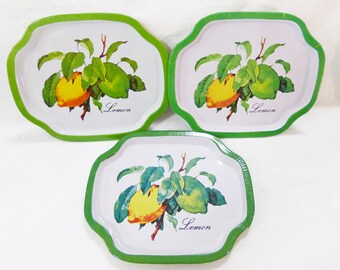 Vintage small metal decorative vanity tray lemon picture hong kong set of 3