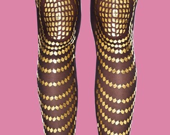 Goldfish gold printed tights available in S-M, L-XL, gift for her, gift ideas