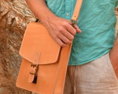 Handmade full grain natural leather messenger satchel bag briefcase laptop bag from Greece