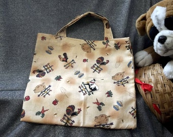 Book Lunch N Small Gift Tote Bag, On The Farm Print