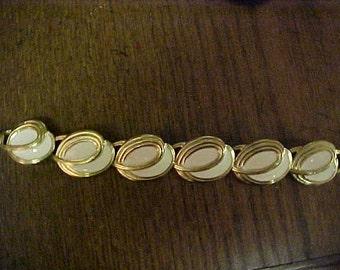 Signed Trafari white and gold bracelet