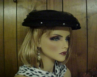SALE  vintage black velvet hat with netting and rhinestones -prongs inside- fits all