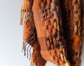 Soft Wool Long Open Weave Hand Woven Scarf - Autumnal Color Palette - Renee's New York Label - Holiday Gift Ready - Boho Winter Scarf Chic