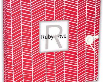 BABY BOOK | Hot Pink Herringbone Album | Ruby Love Modern Baby Memory Book .