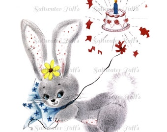 Bunny With Birthday Cake Vintage Image Digital Download 1950's clipart  sweet rabbit spring flowers easter adorable greetings happy birthday