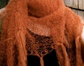 Airy Fringed Orange Pumpkin Shawl Wrap Scarf