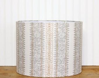 Stripe Lamp Shade - Drum Shade - Linen Lamp Shade - Lamp Shade - Modern Drum Shade - Chic Lamp Shade - Gold - Grey - Bedroom - Livingroom