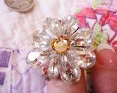 Anne Koplik Vintage Inspired Large Flower Ring with Swarovski Crystals Adjustable