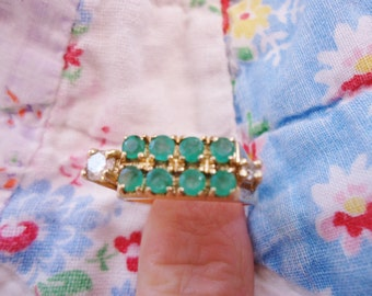 Stunning Estate Vintage 14K Gold/Emeralds/Diamonds Ring Size 10 1/2