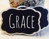 On SALE- 50 Chalkboard Name Tags,  Magnetic or Pins Reusable Name Tags--Perfect for Weddings, Office Parties, Meeting, and Corporate E