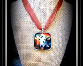 Glass Dome Cattle Image Pendant With Ribbon Necklace