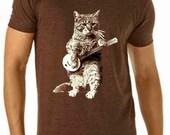 banjo tshirt - cat tshirt - mens tshirt - cat shirt - banjo shirt - cat gifts - cat lover gift - cat lover - music gift - BANJO CAT- v-neck