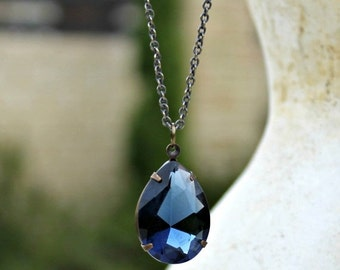 Large Sapphire Blue Jewel Necklace, Long Necklace, Gift for Her, Christmas Gift