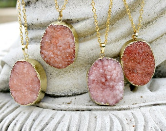 Large Chunky Natural Druzy Agate Pendant - Peach, Pink, Coral, Gold Plated, Long Chain
