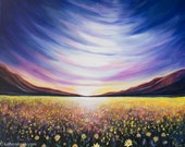Death Valley Superbloom Wildflower Landscape Painting - Photo Print on Paper