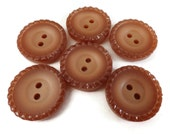 Pie Shell Vintage Button - 6 Sew Through Style in Tawny Fawn 7/8 inch or 3/4 inch 22mm or 19mm for Jewelry Beads Sewing Knitting