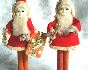 2 Vintage Santa Claus Figurines