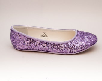 Sequin | Lilac Purple Slipper Ballet Flats Custom Shoes