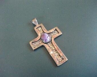 Vintage Silver & Cabochon Purple Stone This Is Love John 3:16 Religious Cross Pendant